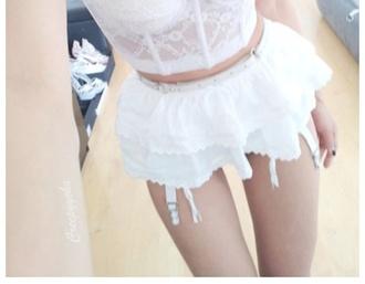 underwear lacy lacy panties lacy underwear panties white panties garter belt garterbelt frilly ruffled underwear