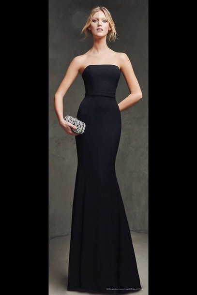dress designer formal gown strapless black dress beautiful classy black dress