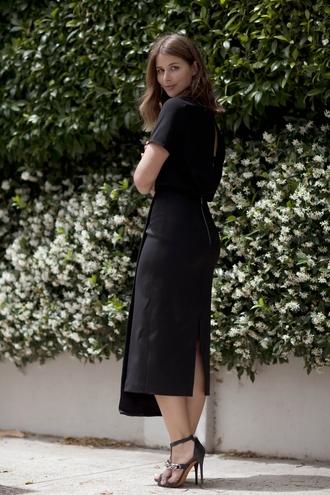 sandals blogger harper & harley slit dress black dress
