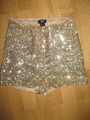 ™¥stunning H&M gold sequin high waisted hotpants shorts size 8 10 ...
