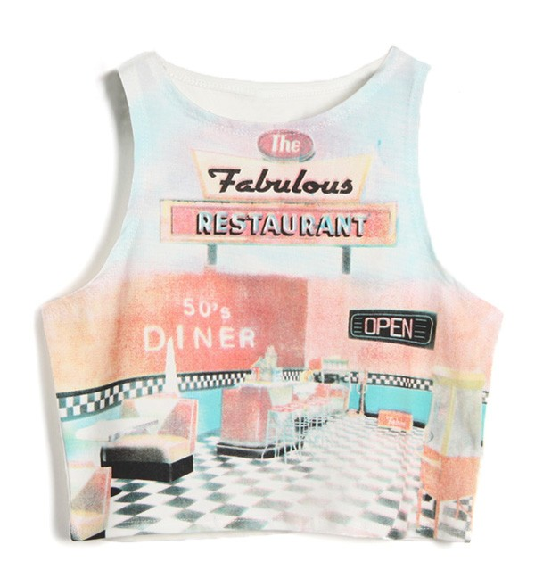 Cropped Vest Top With Retro Diner Print