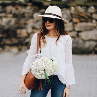 somewherelately blogger top t-shirt leggings dress felt hat brown bag white blouse