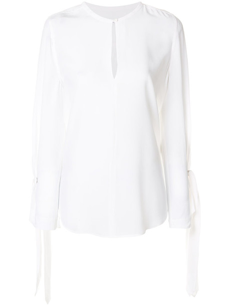 Equipment blouse women white silk top
