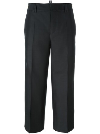 cropped women black silk wool pants