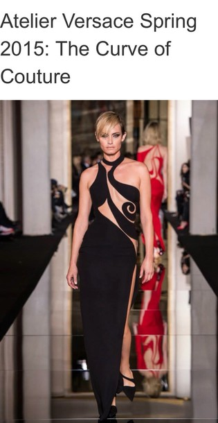 dress versace black dress model sexy dress fashion week 2015