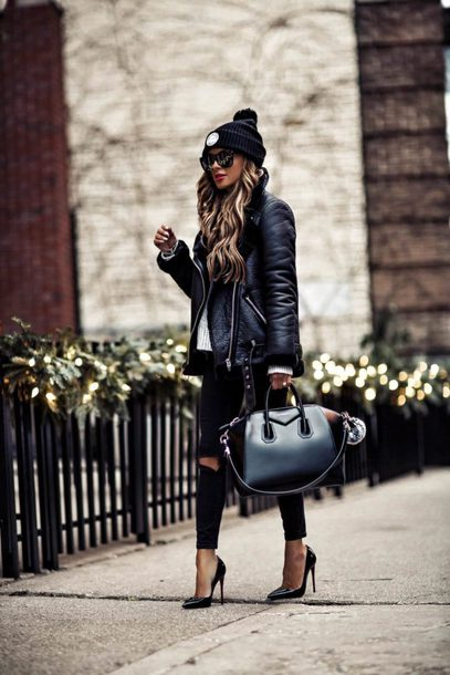 maria vizuete mia mia mine blogger hat jacket sweater bag shoes top sunglasses jewels winter outfits fall outfits beanie biker jacket handbag givenchy bag pumps high heel pumps black jeans