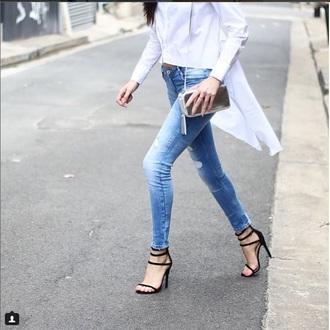 shirt blouse white whiteshirt buttonupshirt high low hilo longinback cropped chic button-up