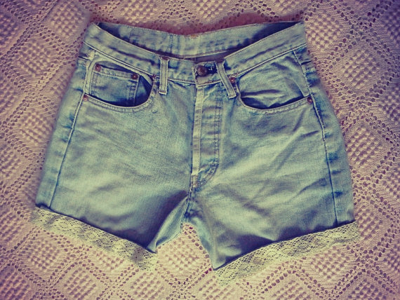 Levis 501 high waisted shorts vintage jean shorts by chicutopia