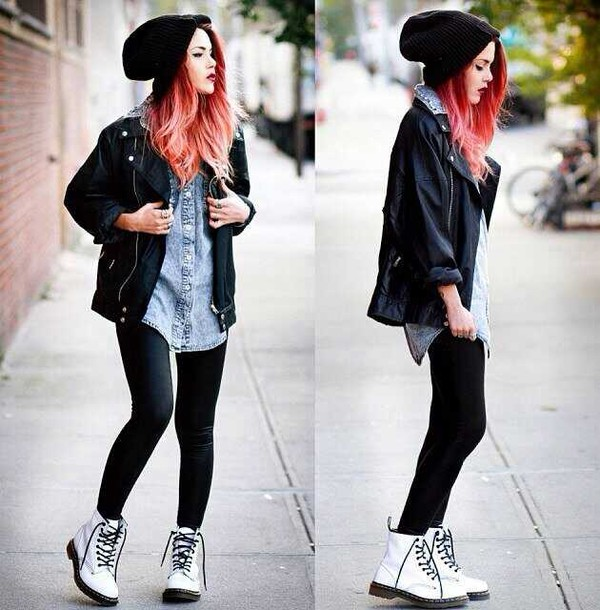 jacket black leather jacket leather jacket leather shoes boots black beanie denim shirt white combat boots black leggings