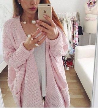 cardigan knit blush pink jewelry pearl jewels