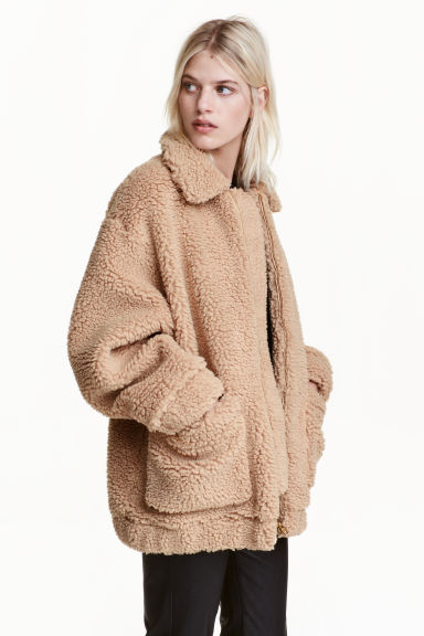 Short pile coat - Beige - Ladies   H&M GB