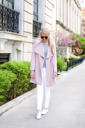 brightandbeautiful blogger shirt coat jeans shoes sunglasses sneakers pink coat striped top white jeans spring outfits