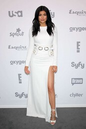 dress,maxi dress,sandals,long sleeves,slit dress,white,white dress,kylie jenner,maxi skirt,slit skirt,top,shoes