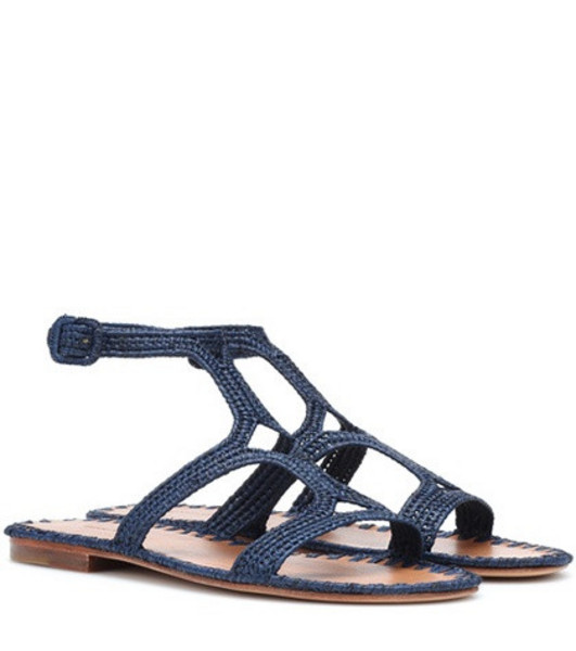 Carrie Forbes Raffia sandals in blue