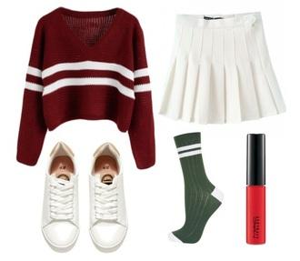 sweater cute burgundy sweater shoes tennis skirt preppy