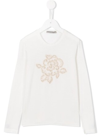 t-shirt shirt girl embroidered rose white top