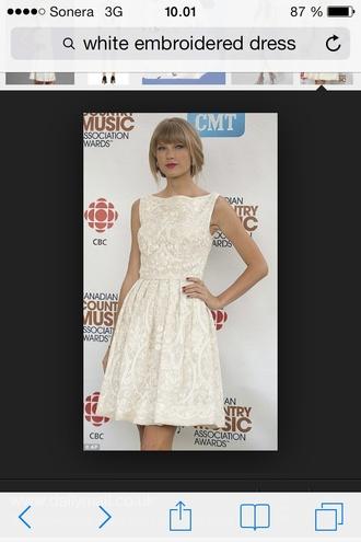 dress white embroidered dress skater dress taylor swift ivory lace dress