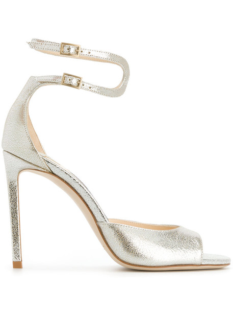 Jimmy Choo women 100 sandals leather nude shoes