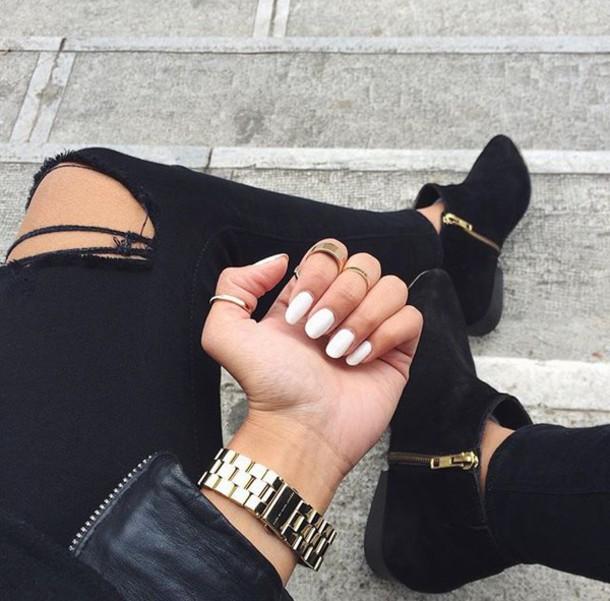 Nail Polish Tumblr White Nails Boots Black Ankle Flat