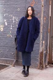 coat,navy,fluffy,fur,shag,blue,shaggy,big,blue coat