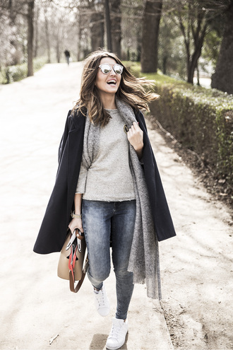 lovely pepa blogger coat scarf black coat skinny jeans sunglasses shoulder bag grey sweater mirrored sunglasses streetstyle guess dior sunglasses dior so real winter outfits winter look