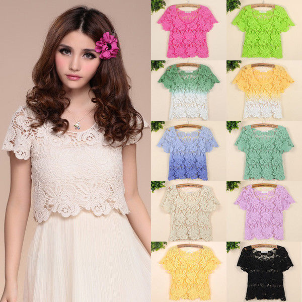 Sexy Women Candy Lace Crochet Blouse Hollow Sheer Smock Floral T Shirt Crop Tops