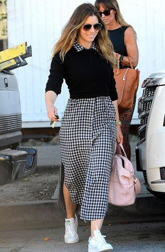 dress midi dress plaid jessica biel sneakers sweater