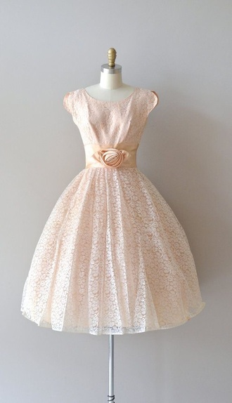 dress champagne dress champagne 50s dress 50s style baby pink formal dress
