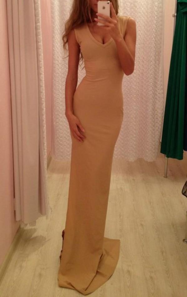 dress clothes tumblr hot nude beige dress maxi dress v neck sleeveless nude maxi dress