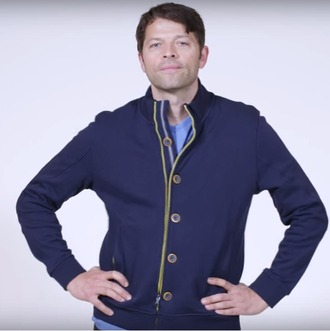 jacket blue jacket yellow zipper blue buttons yellow buttons pink stripes misha collins pockets lined with yellow blue collar light blue stripe supernatural parody video lovely
