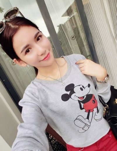 Preppy style Korean mouse pattern T-shirt_T-Shirts_Tops_Women's Clothes_Wholesale clothing from China fashion online shop. Cheap Korean fashion clothes, dresses, high heels shoes and T shirts on sale.