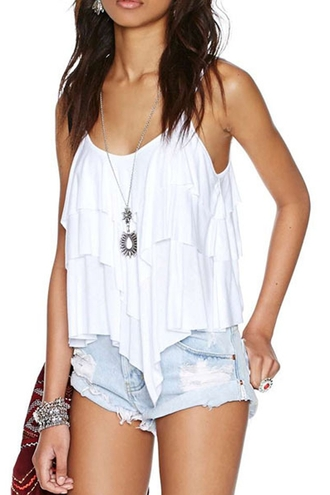 top summer summer outfits boho fashion teen spaghetti strap white white top white tank top casual denim shorts denim hippie hipster indie grunge streetstyle streetwear fringes splicing backless zaful white crop tops jewels hippie chic college back to school