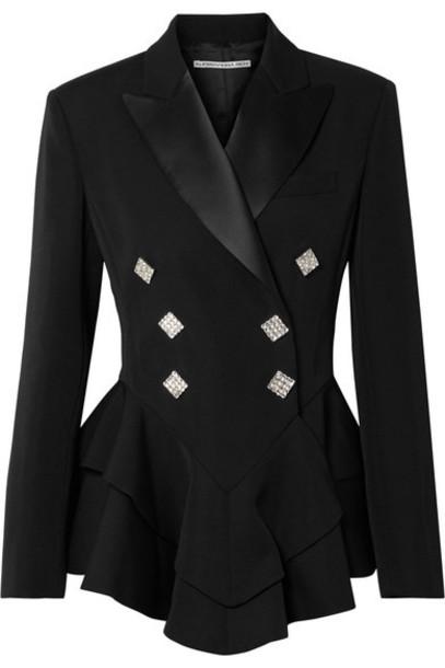 Alessandra Rich - Crystal-embellished Satin-trimmed Wool-crepe Peplum Blazer - Black