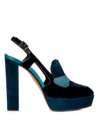 pumps platform pumps suede velvet dark green shoes