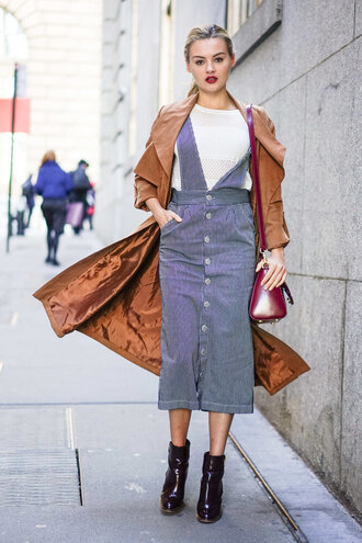 dress midi dress coat fashion week 2016 ny fashion week 2016 rust button up skirt waterfall jacket trench coat streetwear forever 21