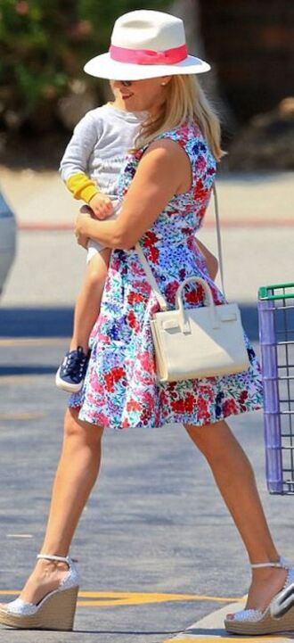 dress floral flowers reese witherspoon sandals hat shoes wedges bag purse