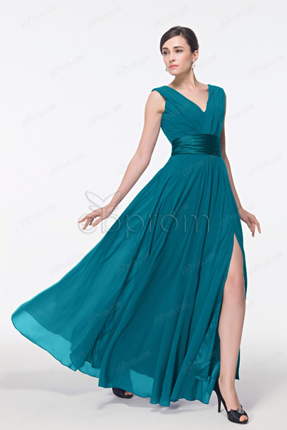 dress, prom dress with slit, teal color prom dress, long prom dress ...