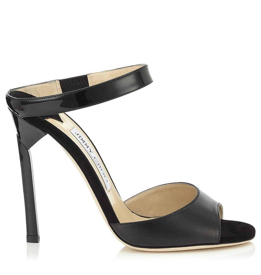 Black nappa, suede and patent sandals