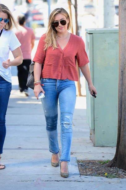 shirt jeans pumps blouse hilary duff streetstyle