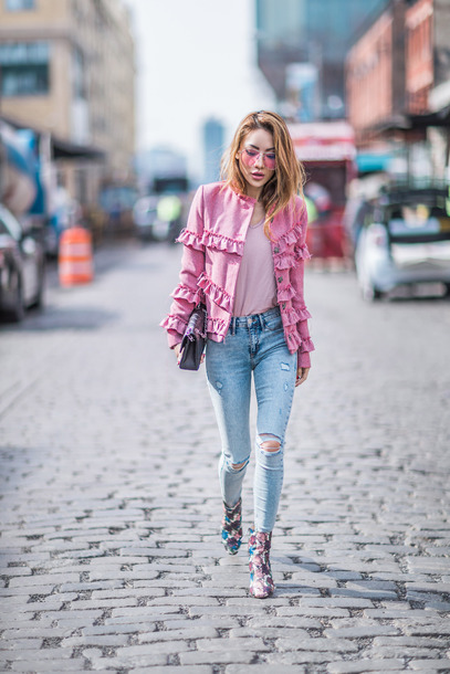 shoes tumblr boots ankle boots floral floral  boots jacket pink jacket sunglasses ripped jeans skinny jeans denim jeans blue jeans