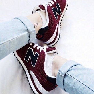 shoes new balance burgundy new balance 574 hipster sneakers red low top sneakers