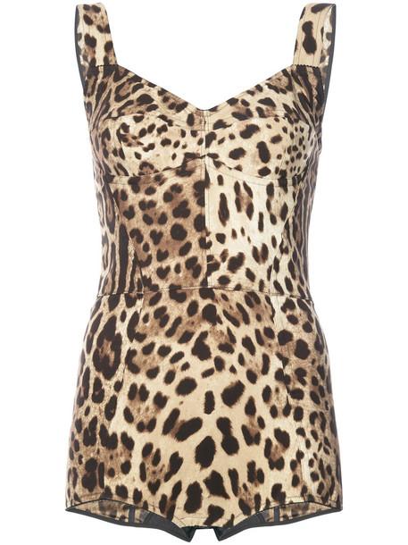 Dolce & Gabbana - leopard print bustier bodysuit - women - Silk/Nylon/Spandex/Elastane - 42, Brown, Silk/Nylon/Spandex/Elastane