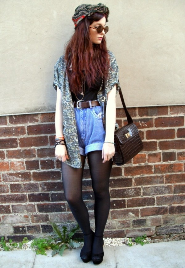 shorts sweater hair accessory high heels High waisted shorts jacket hipster indie grunge summer outfits denim high waisted cardigan patterned cardigan baggy cardigan oversized cardigan aztec patterns aztec patterned