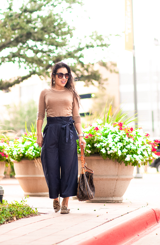 cute & little blogger shoes jewels sunglasses bag fall outfits slippers babouches blue pants louis vuitton bag