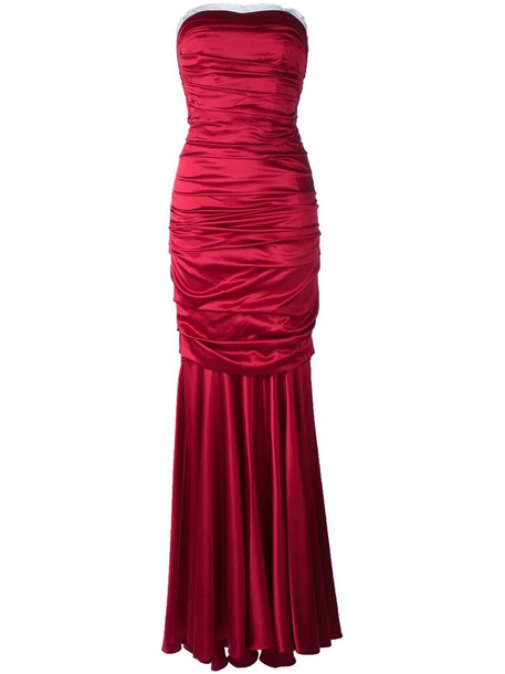 Dolce & Gabbana dress satin dress long women spandex silk satin red
