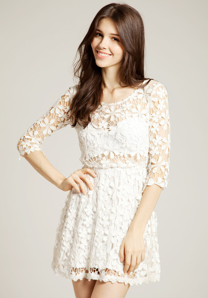 Crochet Floral Crop Sleeve Dress