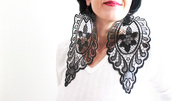 jewels,earrings,statement earrings,big earrings,lace earrings,black lace earrings