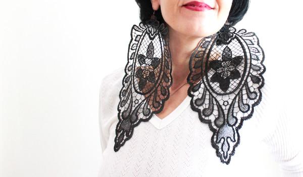 jewels earrings statement earrings big earrings lace earrings black lace earrings
