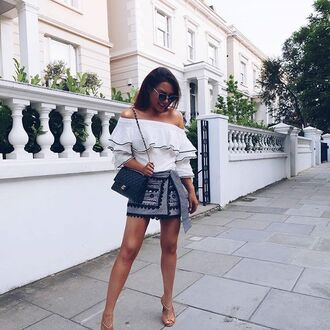 top blouse ruffled top white ruffles off the shoulder top white off shoulder top streetwear