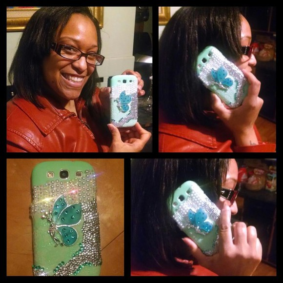 jewels butterfly phone cases bling phonecase mint green